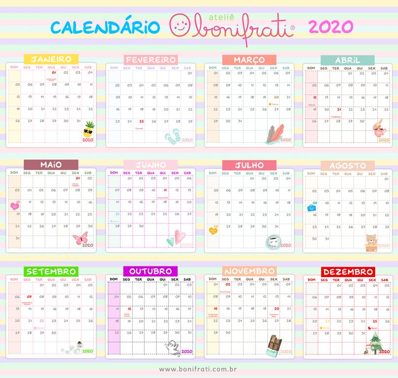CALENDÁRIO BONIFRATI2020- 12MESES